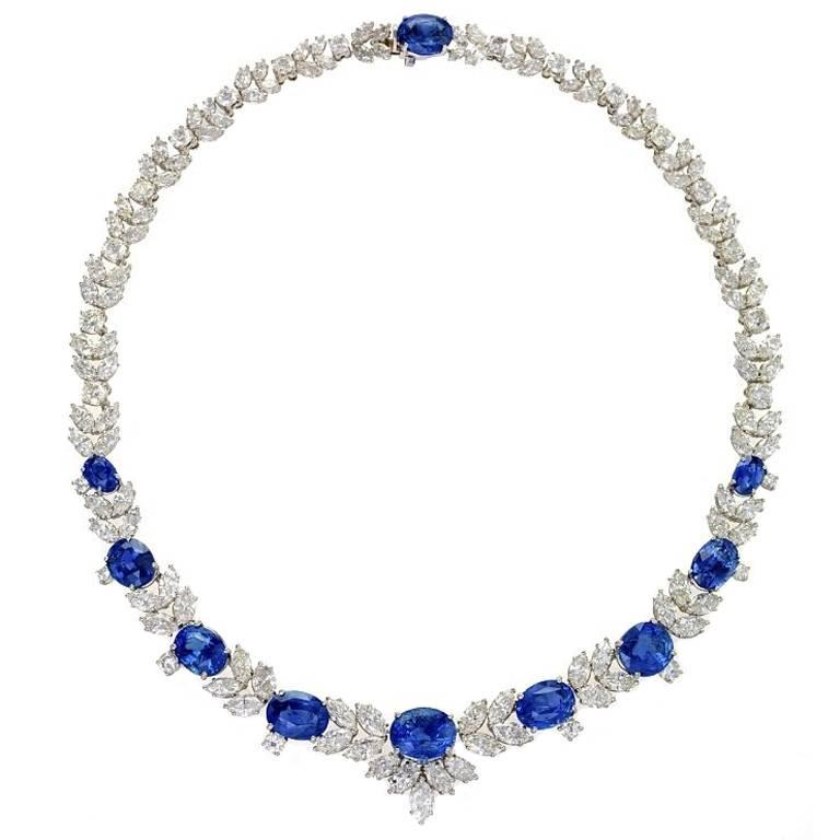 1980s Sapphire Diamond Platinum Necklace For Sale