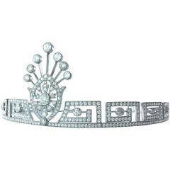 Greek Key Pattern Center Medallion Diamond Tiara