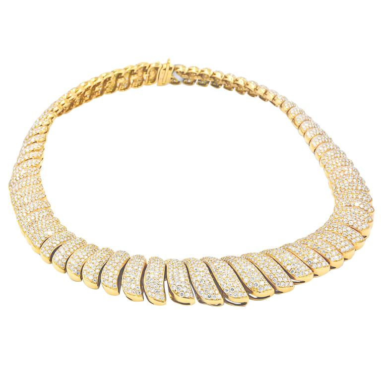 45 Carat Diamonds French Chevron Pave Link Necklace