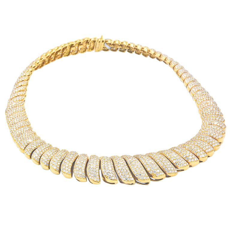45 Carat Diamonds French Chevron Pave Link Necklace