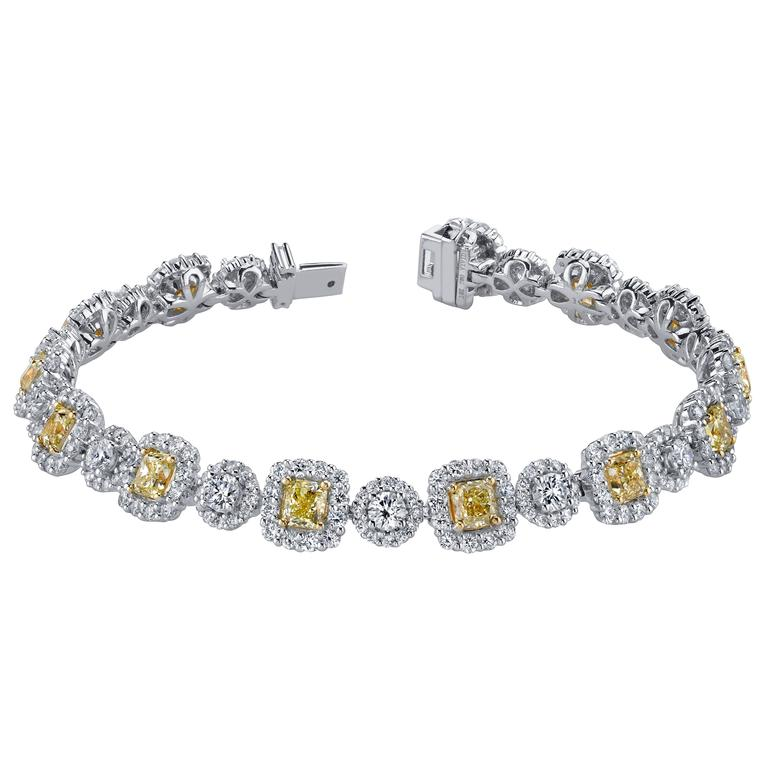 Fancy Yellow White Diamond Gold Tennis Bracelet