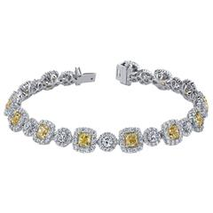 Fancy Yellow White Diamond Gold Tennis Bracelet