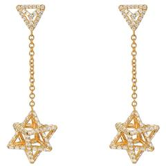 Merkaba Diamond Gold Drop Earrings
