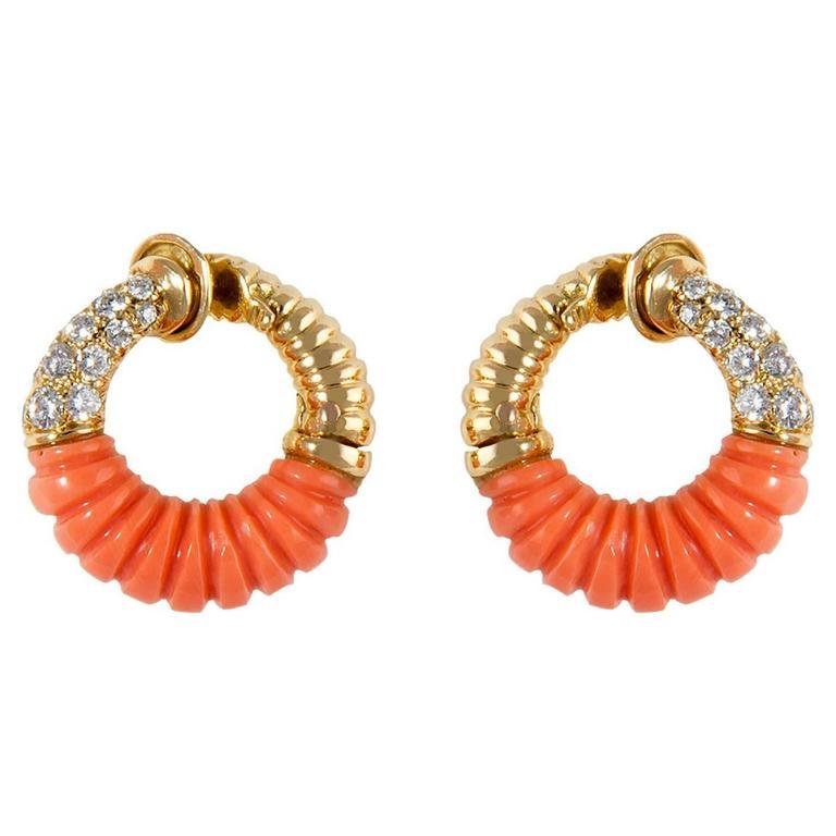 Van Cleef & Arpels Coral Earrings For Sale