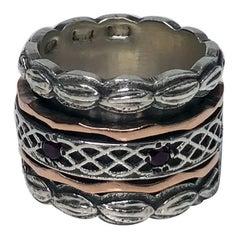 1940s Garnet Silver Gold Spinner Ring