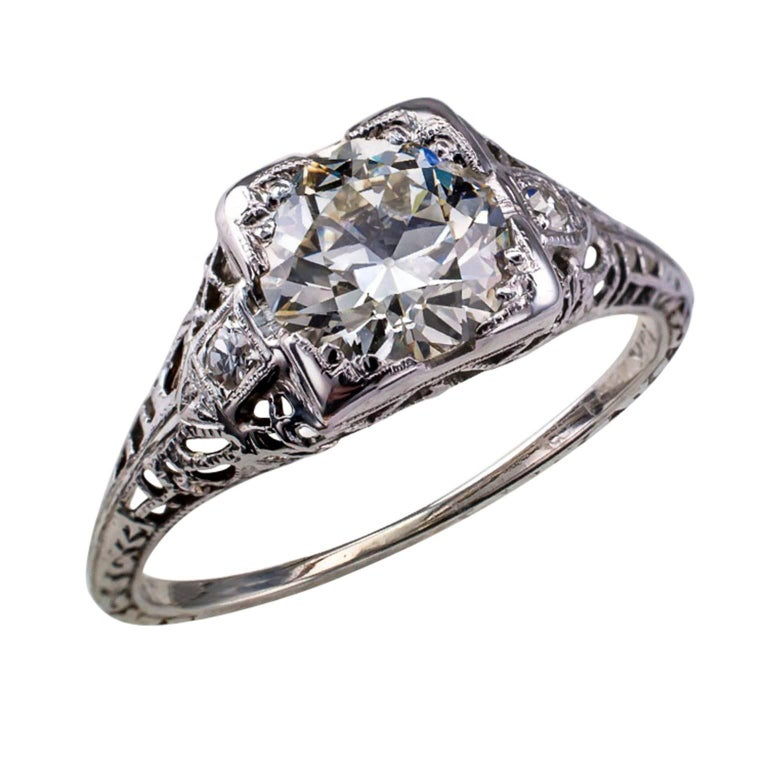 Old Fashion One Karat Diamond Ring K Engagement