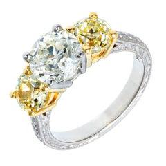 Peter Suchy 2.06 Carat White Yellow Diamond Three-Stone Platinum Engagement Ring