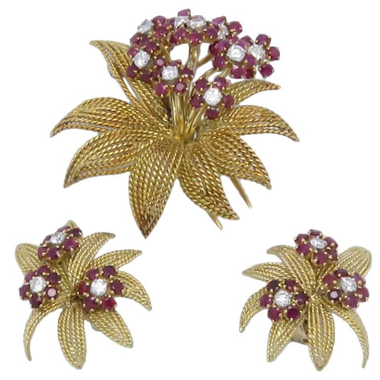 1950s J.Lacloche Diamonds and Ruby Gold  Earrings Brooch Set.