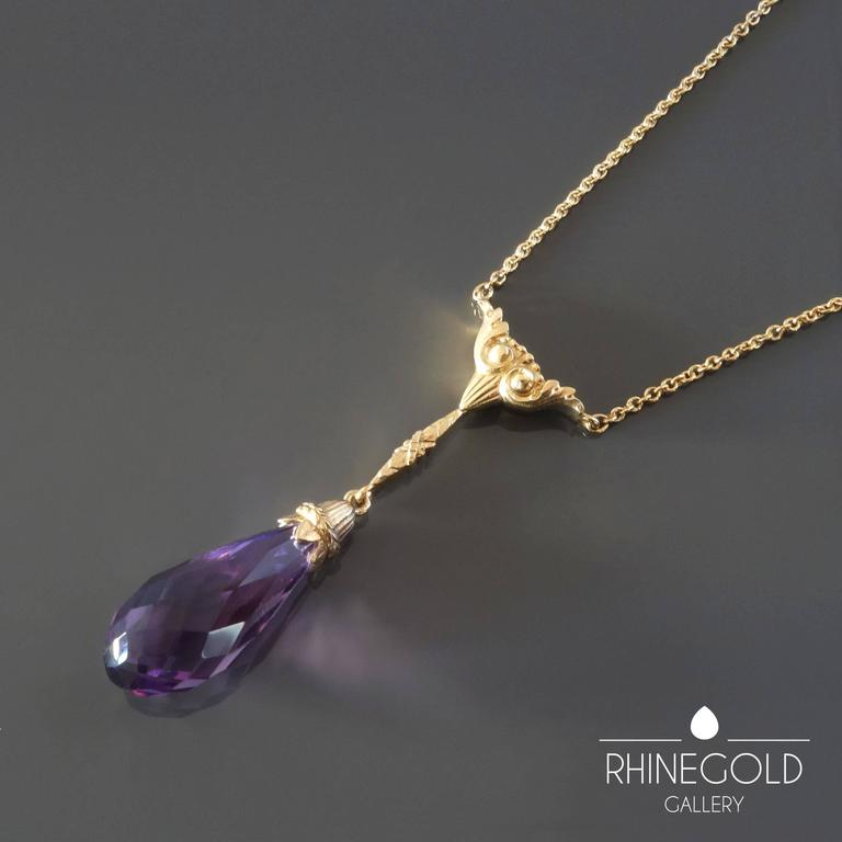 Late Victorian Antique Victorian Amethyst Gold Drop Necklace Lavaliere For Sale