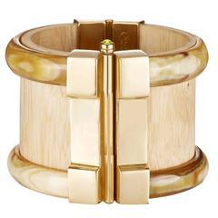 Fouche Horn Wood Fire Opal Cuff Bracelet