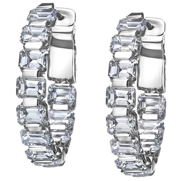 Emerald Cut Inside Out Diamond Gold Hoop Earrings For Sale