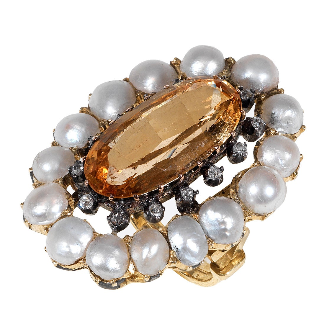 Antique Pearl Topaz Oval Faceted Diamond Gold Cluster Ring