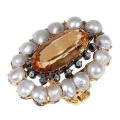 Antique Pearl Topaz Diamond Gold Cluster Ring