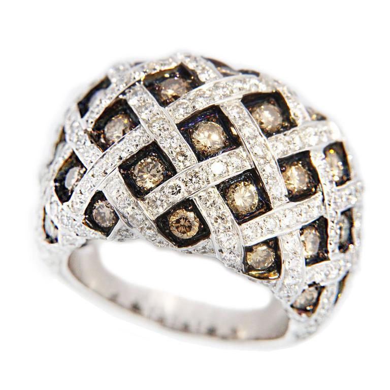 Jona Treillage White and Brown Diamond White Gold Dome Ring