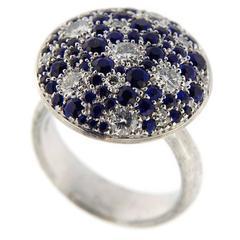 Jona Blue Sapphire Diamond Pave Ring