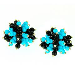 Aletto Brothers Black Onyx Turquoise Diamond Earrings