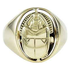 Large Scarab Moveable Gold Ring