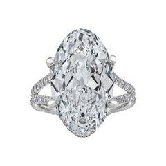 Rare Art Deco Oval Cut 9.83 Carat Diamond Engagement Ring