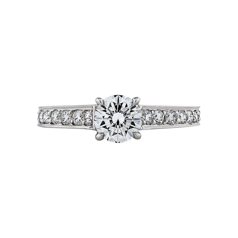 Cartier Paris .65 Carat Round Brilliant Diamond Platinum Engagement Ring