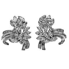 1950s Mid-Century Platinum Diamond Spray Earrings