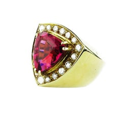 Rubelite and Diamond  18k Yellow Gold Cocktail Ring