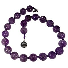 Great Balls of Amethyst Necklace   February Birthstone