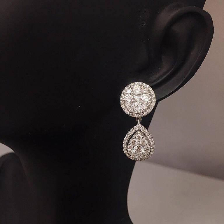 Wow what a stunning unique earring!  The measurement is 2.50CM from top to bottom.  Approx. 3.55ct T.W. F color VVS clarity conflict free diamonds. Available in all sizes and gold colors.  For your piece of mind, we hand make all of our jewelry