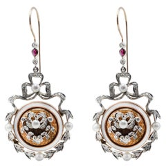 Emblem Diamond Ruby Pearl and White Gold Earrings