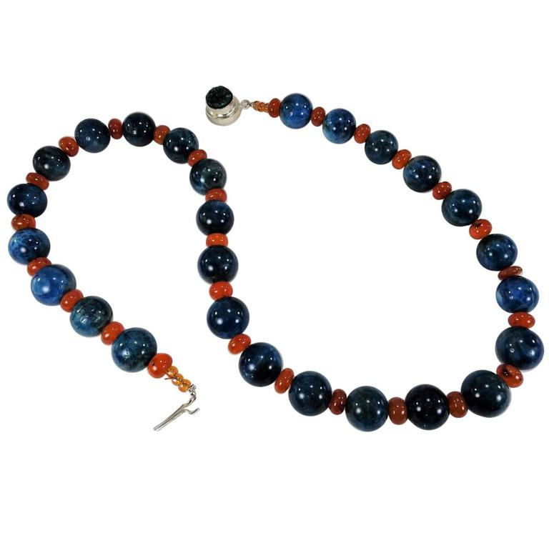 Opaque Glowing Apatite and Carnelian Necklace