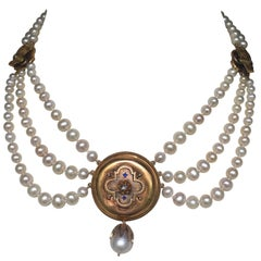 Graduated Pearl Necklace with Sapphire and Diamond 14k Gold Vintage Centerpiece