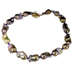 Iridescent Silver/Mauve Baroque Pearl Necklace