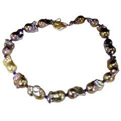 Iridescent Silver/Mauve Baroque Pearl Necklace