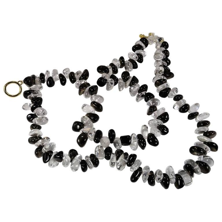 Double Strand Necklace of Tumbled Polished Quartz Crystal and Smoky Quartz