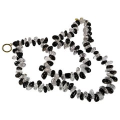Double Strand Necklace of Tumbled Polished Quartz Crystal and Smoky Quartz