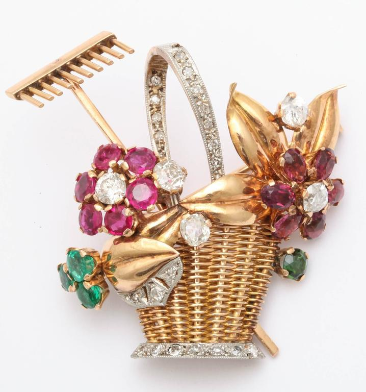 Women's 1940s Ruby, Emerald, Tourmaline and Diamond Gold Flower Basket Pin/Pendant For Sale