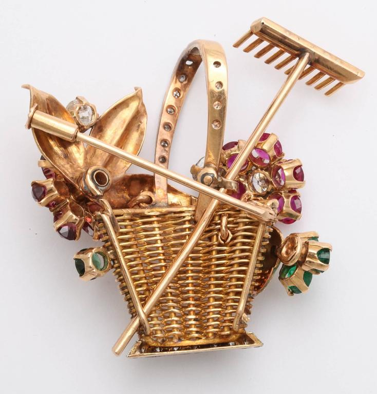 1940s Ruby, Emerald, Tourmaline and Diamond Gold Flower Basket Pin/Pendant For Sale 1