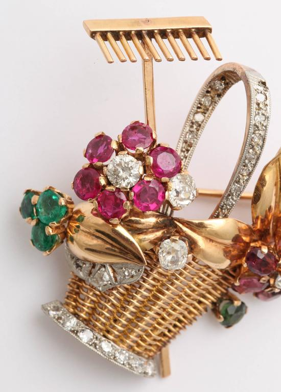 1940s Ruby, Emerald, Tourmaline and Diamond Gold Flower Basket Pin/Pendant For Sale 7