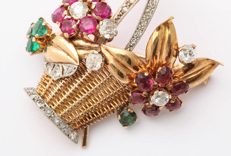 1940s Ruby, Emerald, Tourmaline and Diamond Gold Flower Basket Pin/Pendant For Sale 6