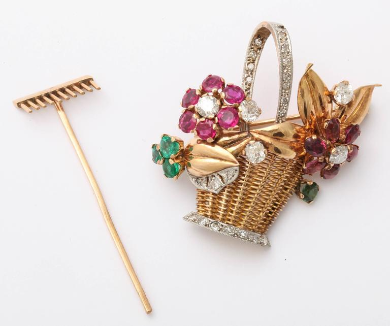 1940s Ruby, Emerald, Tourmaline and Diamond Gold Flower Basket Pin/Pendant For Sale 2