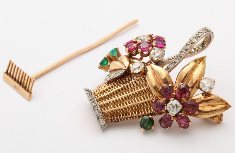 1940s Ruby, Emerald, Tourmaline and Diamond Gold Flower Basket Pin/Pendant For Sale 3
