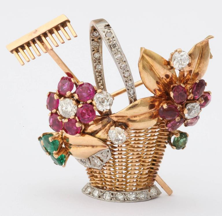 1940s Ruby, Emerald, Tourmaline and Diamond Gold Flower Basket Pin/Pendant For Sale 4
