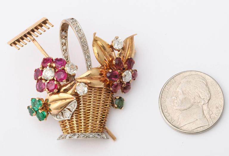 1940s Ruby, Emerald, Tourmaline and Diamond Gold Flower Basket Pin/Pendant For Sale 5