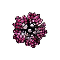 18K White gold Small Yak Flower Ring with Pink Sapphire, Ruby and Diamond