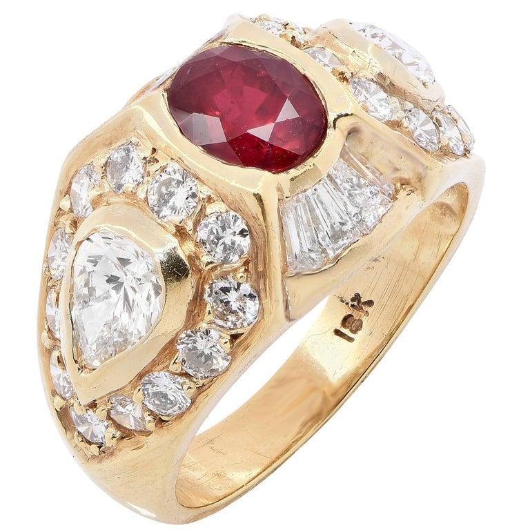 Ruby and Diamond 18 Karat Yellow Gold Ring