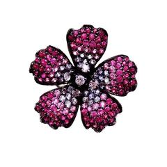 Small Poppy Ring with Pink Sapphire, Ruby and Diamond