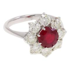 Luise Ruby Diamond Flower Ring