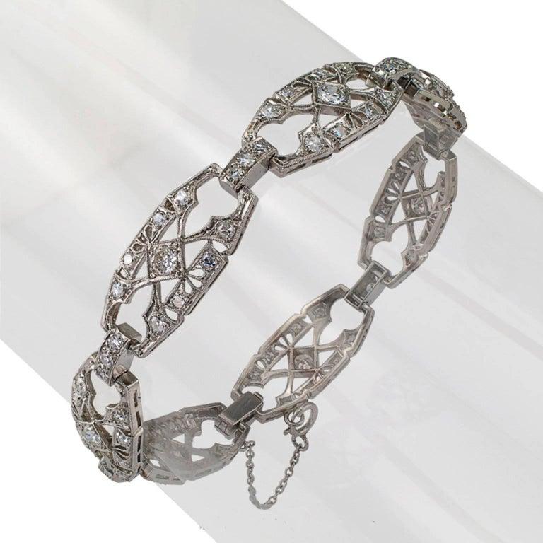 Women's or Men's 1930s Art Deco Diamond and Platinum Bracelet For Sale