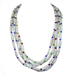 Five-Strand Pearl and Czech Bead Necklace