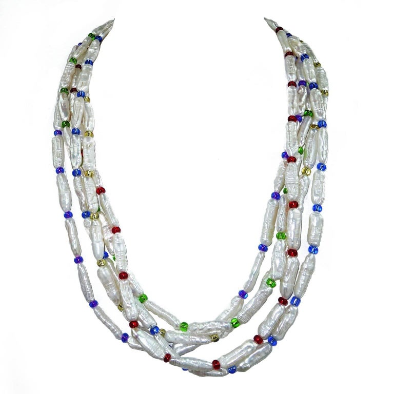 Three Strand Freshwater Baroque Pearl seed bead Necklace rainbow magnetic clasp