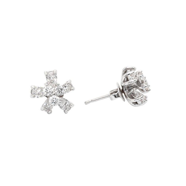 Flower Stud Earrings with Convertible Earring Jackets 1